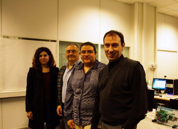 Los investigadores que han llevado a cabo este avance científico. De izquierda a derecha, Laura Garcia, Jose M. Jiménez, Sandra Sendra y Jaime Lloret.
